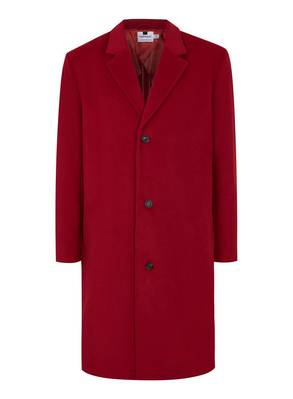 Topman Red Oversized Overcoat With Wool In Red For Men Lyst