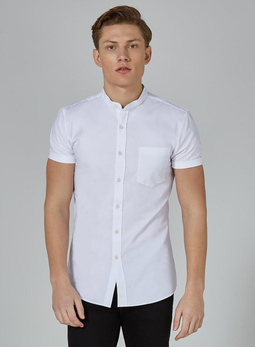 5adbc9dbd200 ... White Stand Collar Stretch Skinny Oxford Shirt for Men - Lyst · Visit  TOPMAN. Tap to visit site