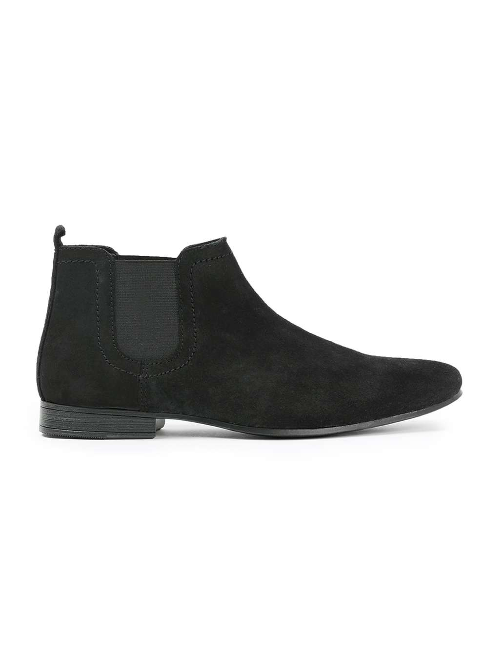 topman black waxy suede chelsea boots in black for lyst