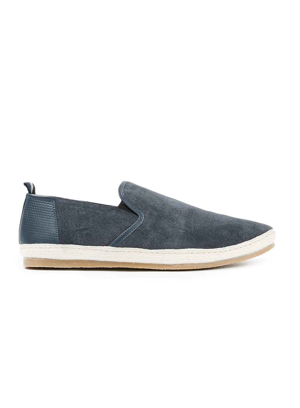 topman navy suede casual slip ons in blue for lyst