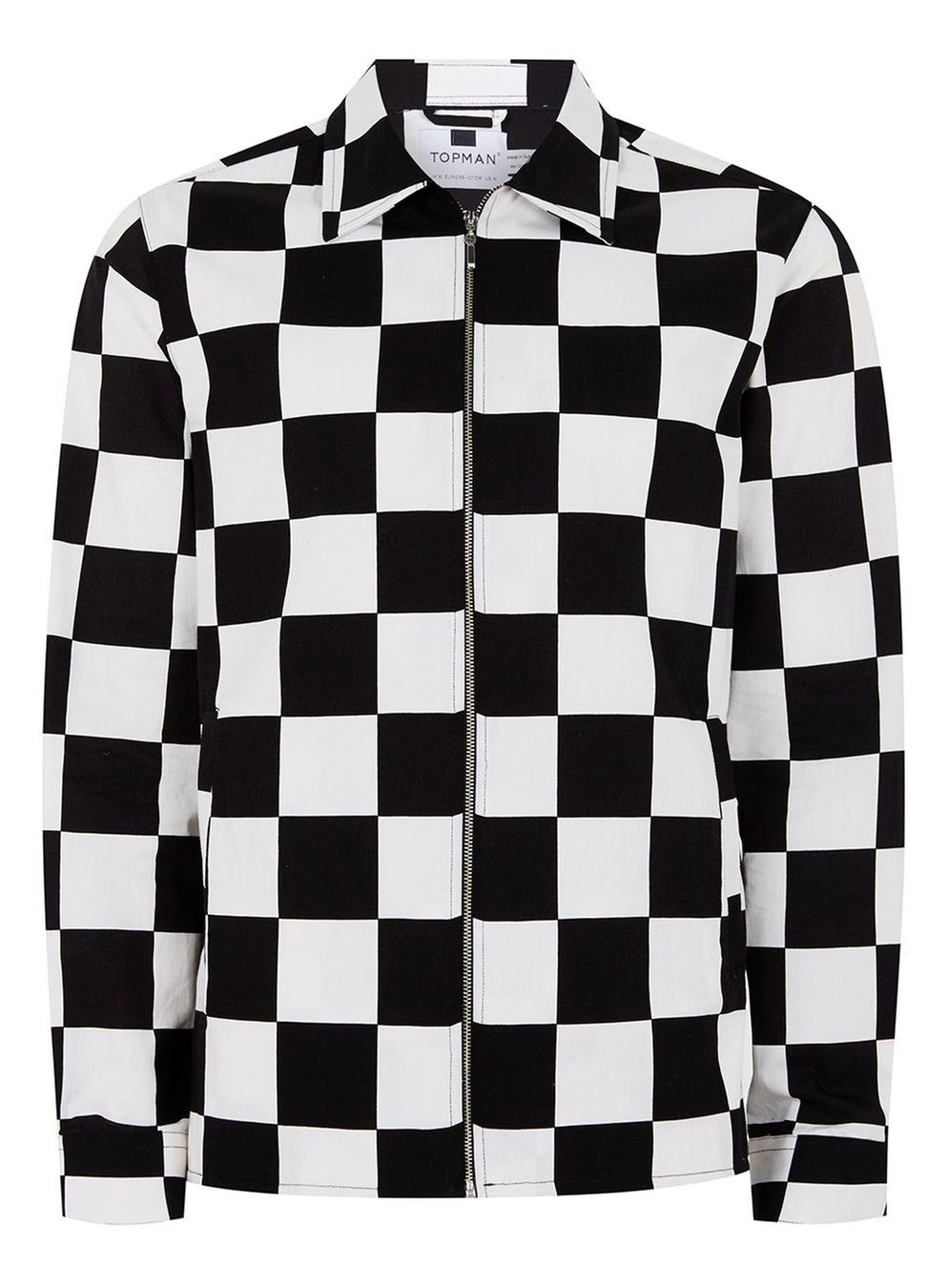 Topman black and white check shirt in black for men lyst for Black and white check mens shirt