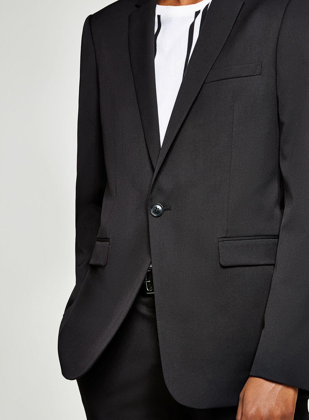 TOPMAN Synthetic Super Skinny Fit Single Breasted Suit Blazer With Notch Lapel in Black for Men