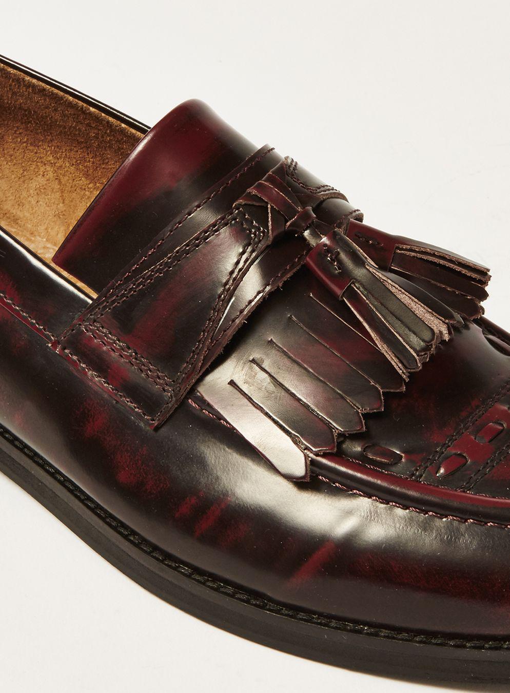 House Of Hounds Burgundy Leather Archer Tassel Fringe Loafer in Red for Men