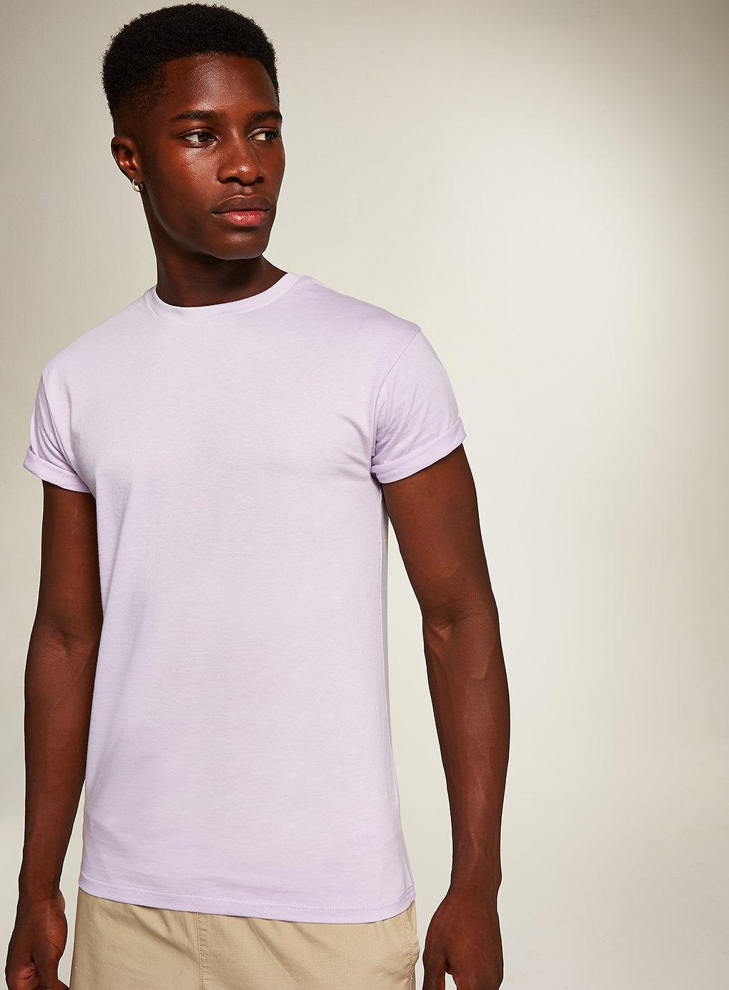 16610cd3 Topman Skinny Fit Rolled Sleeve T-shirt in Purple for Men - Lyst