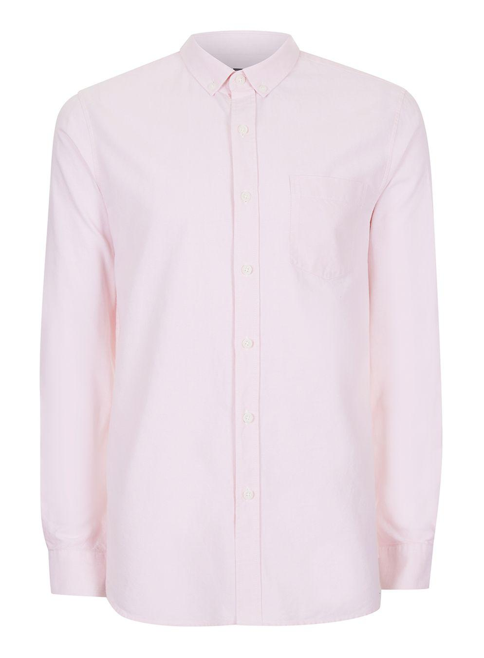 Topman pink button down oxford shirt in pink for men lyst for Pink oxford shirt men