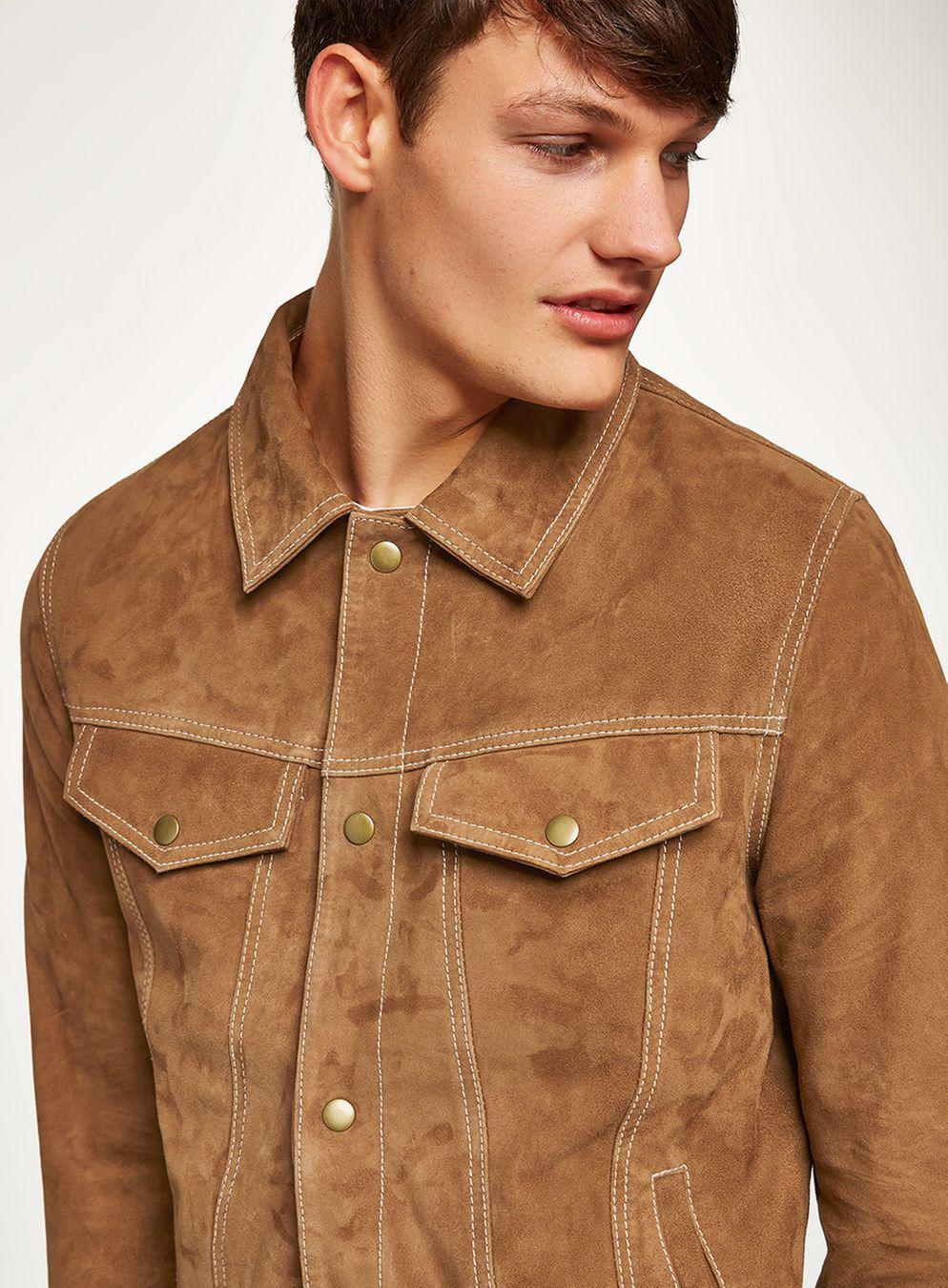 TOPMAN Tan Suede Western Jacket in Brown for Men