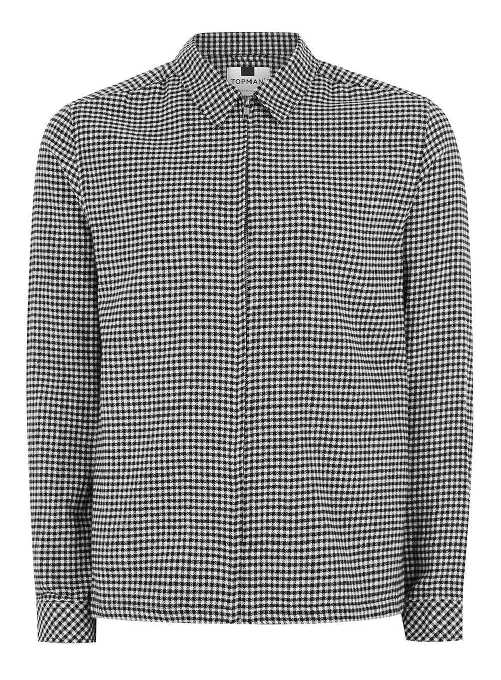 Lyst topman onyx black gingham check shirt in black for men for Black and white check mens shirt