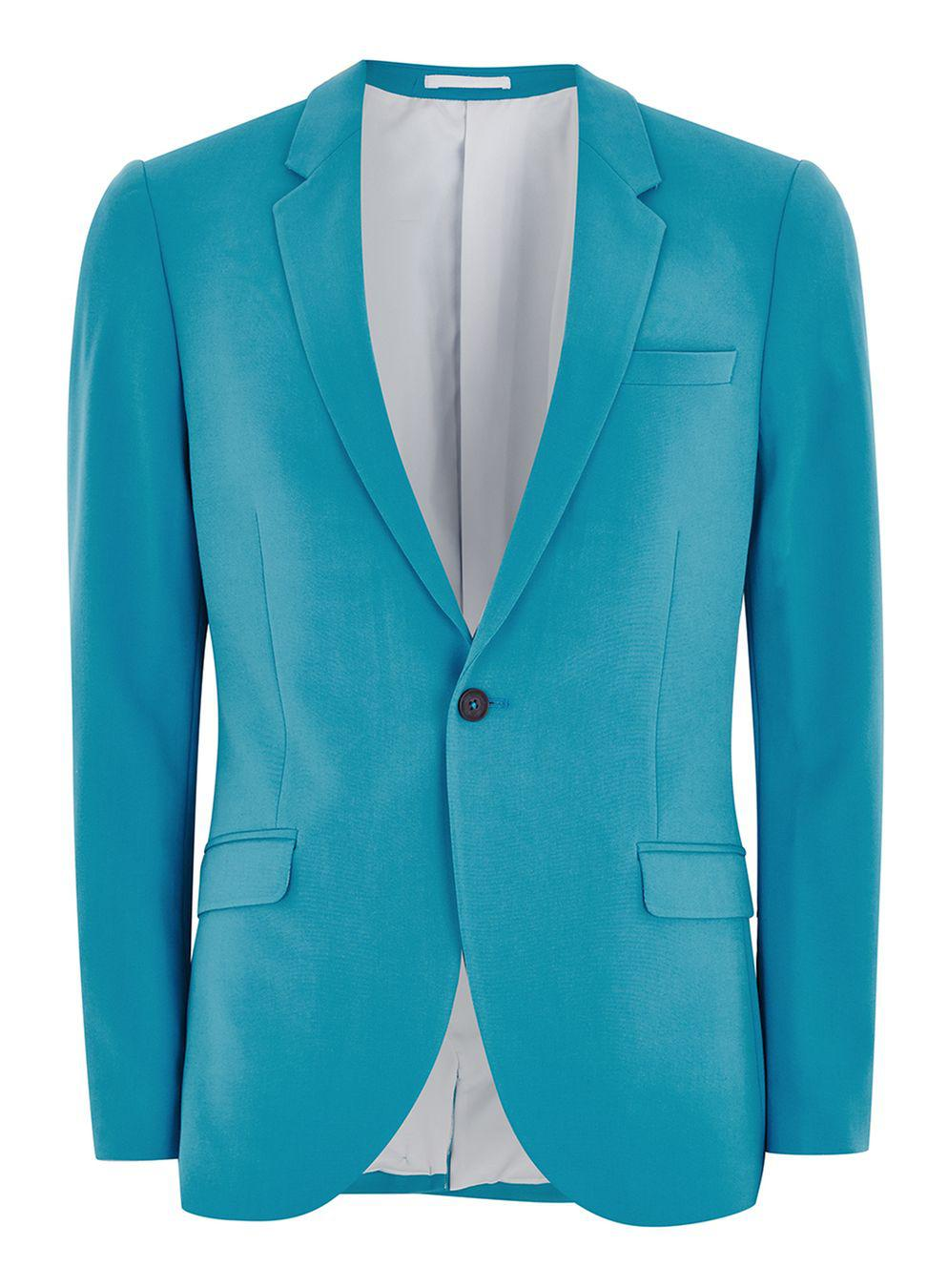 TOPMAN Synthetic Bright Blue Spray On Suit Jacket for Men