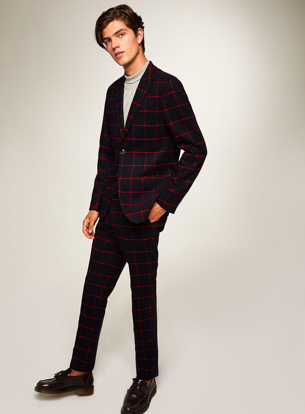 TOPMAN Synthetic Navy And Red Check Skinny Fit Trouser in Blue for Men