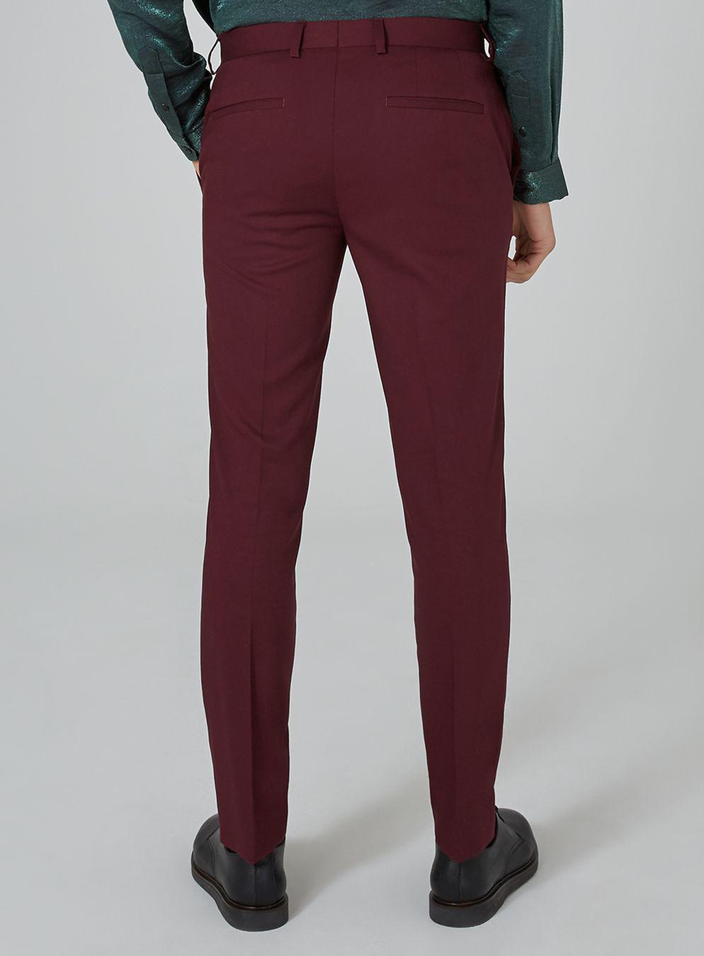 TOPMAN Synthetic Burgundy Skinny Tuxedo Trouser in Red for Men