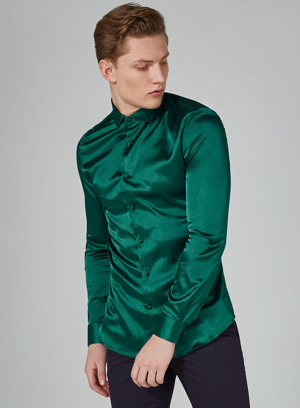topman emerald green satin shirt for men