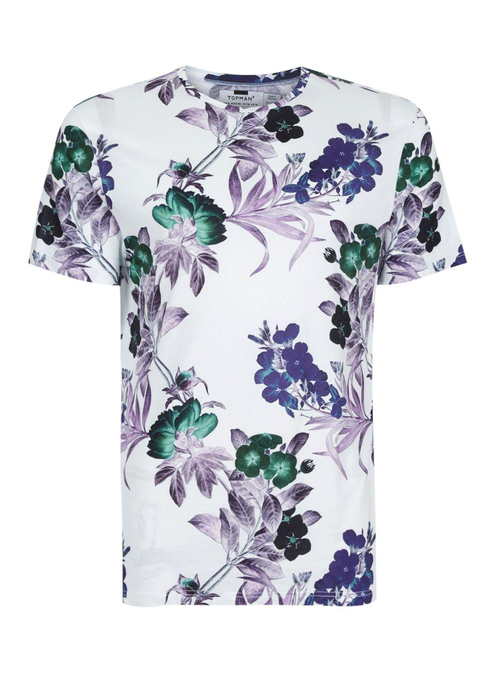Lyst topman white floral print t shirt in white for men for Mens white floral shirt