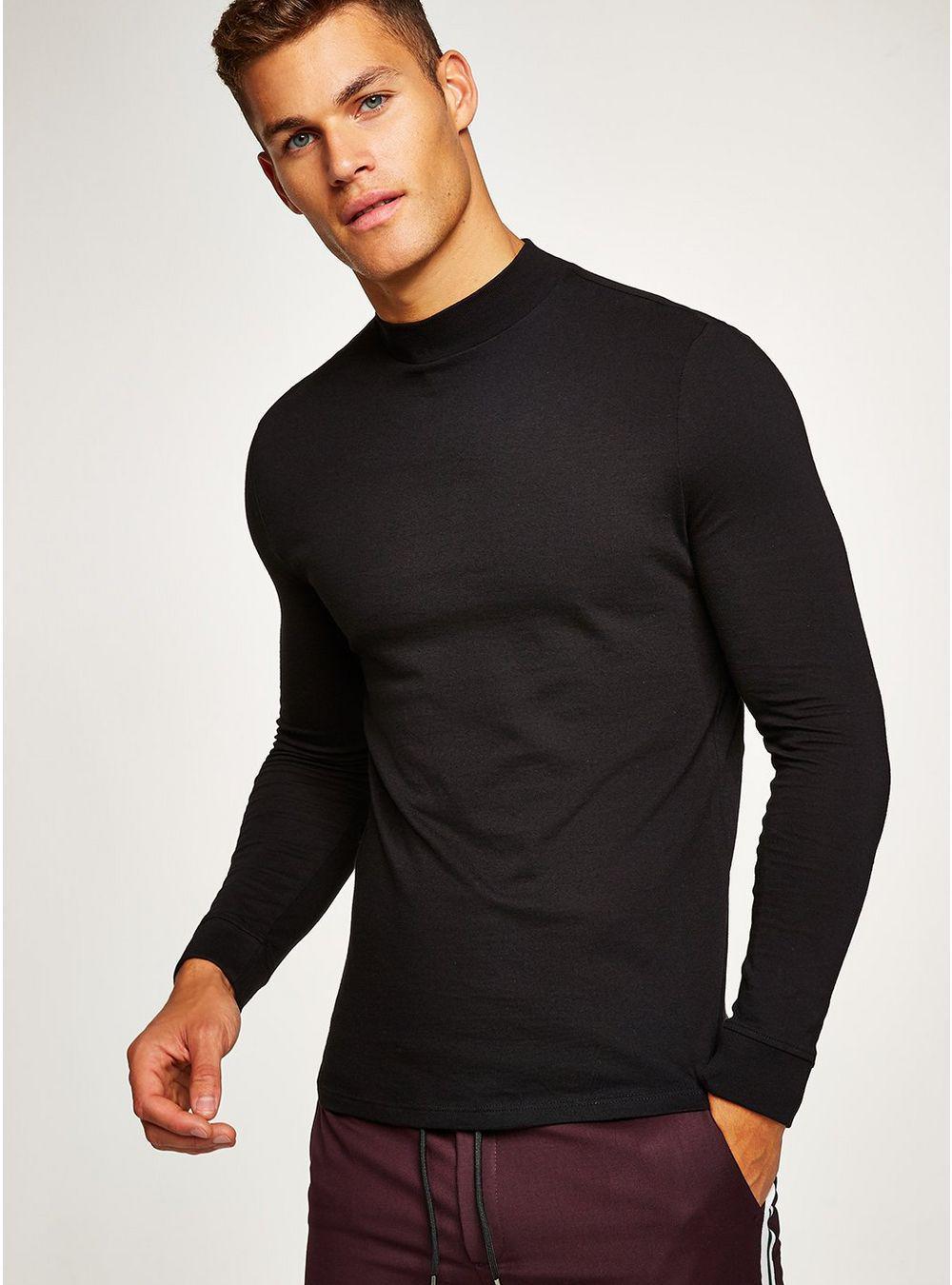 d463c97b9 TOPMAN Black Skinny Roll Neck T-shirt in Black for Men - Lyst