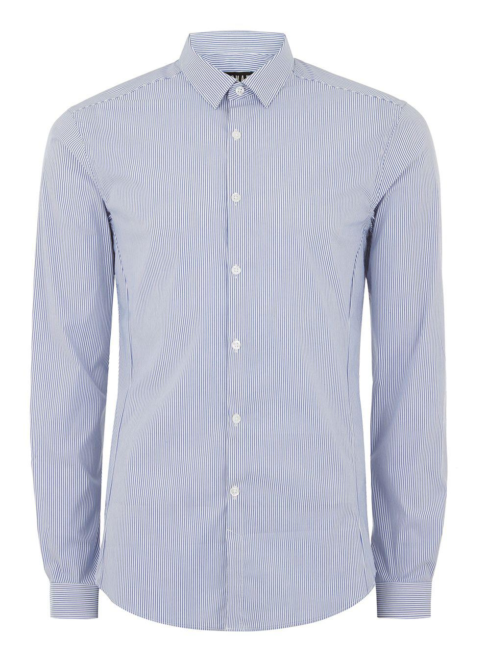 Lyst topman blue and white stripe muscle fit long sleeve for Blue and white long sleeve shirt