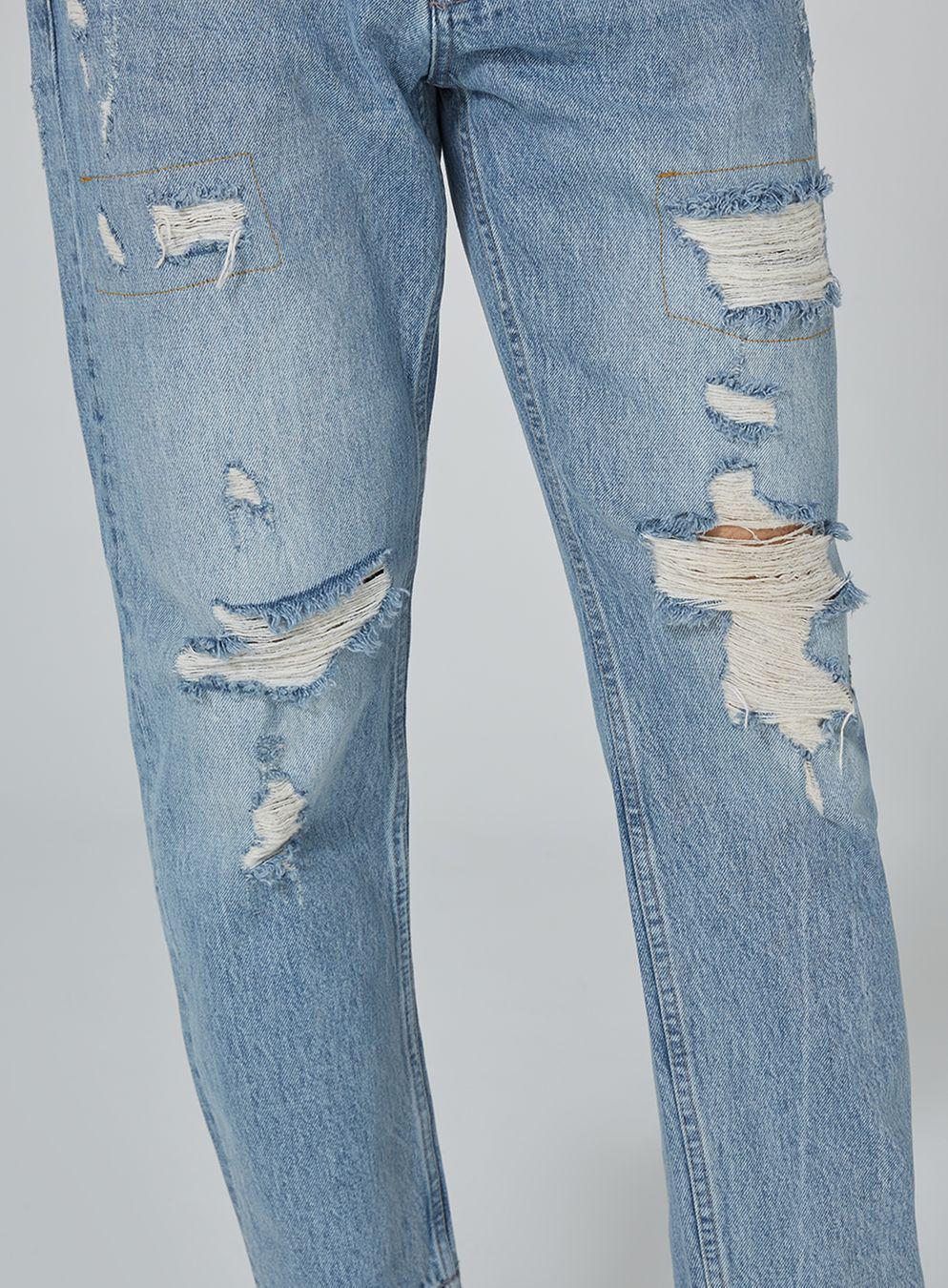TOPMAN Denim Light Wash Original Ripped Jean in Blue for Men