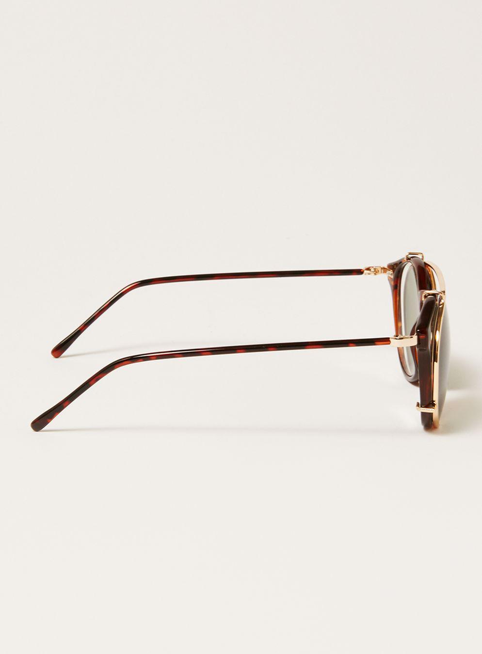 TOPMAN Tortoiseshell Detachable Lens Sunglasse in Brown for Men