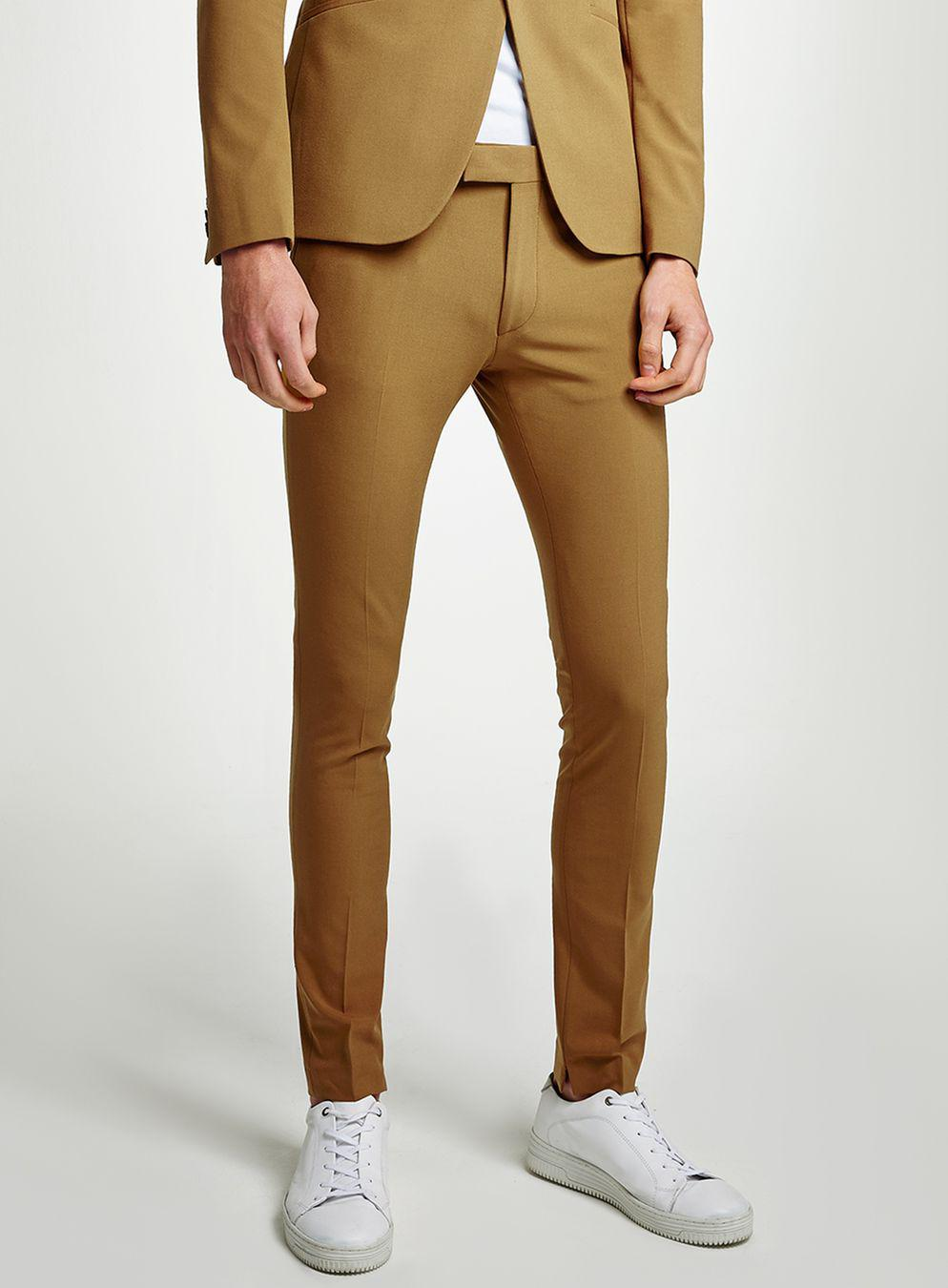 TOPMAN Synthetic Gold Spray On Suit Trousers in Red for Men