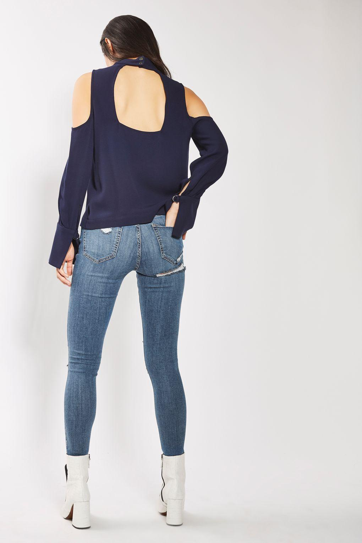 TOPSHOP Denim Moto Cheeky Ripped Jamie Jeans in Blue