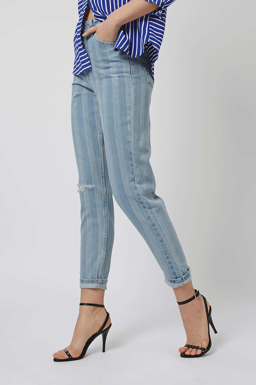 topshop moto stripe mom jeans in blue lyst. Black Bedroom Furniture Sets. Home Design Ideas