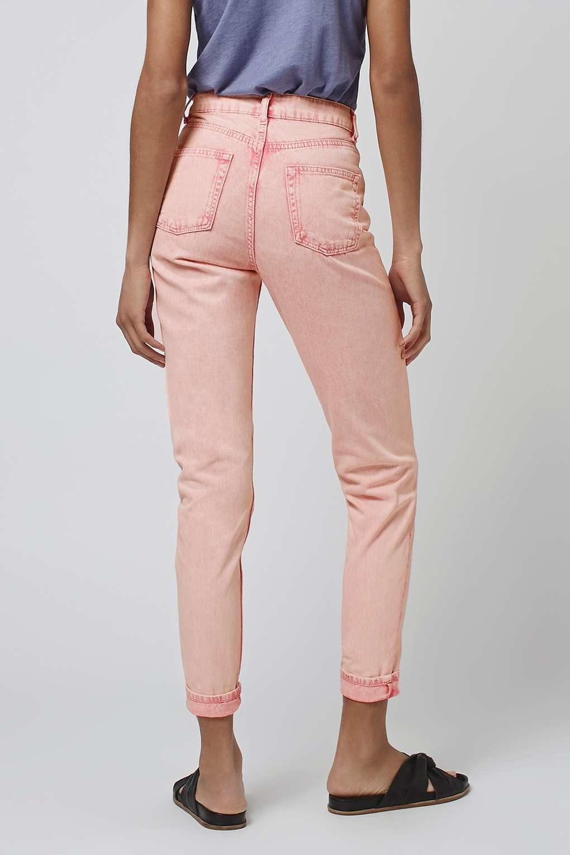 topshop moto pink acid mom jeans in pink lyst. Black Bedroom Furniture Sets. Home Design Ideas