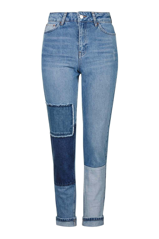 topshop moto patchwork mom jeans in blue lyst. Black Bedroom Furniture Sets. Home Design Ideas