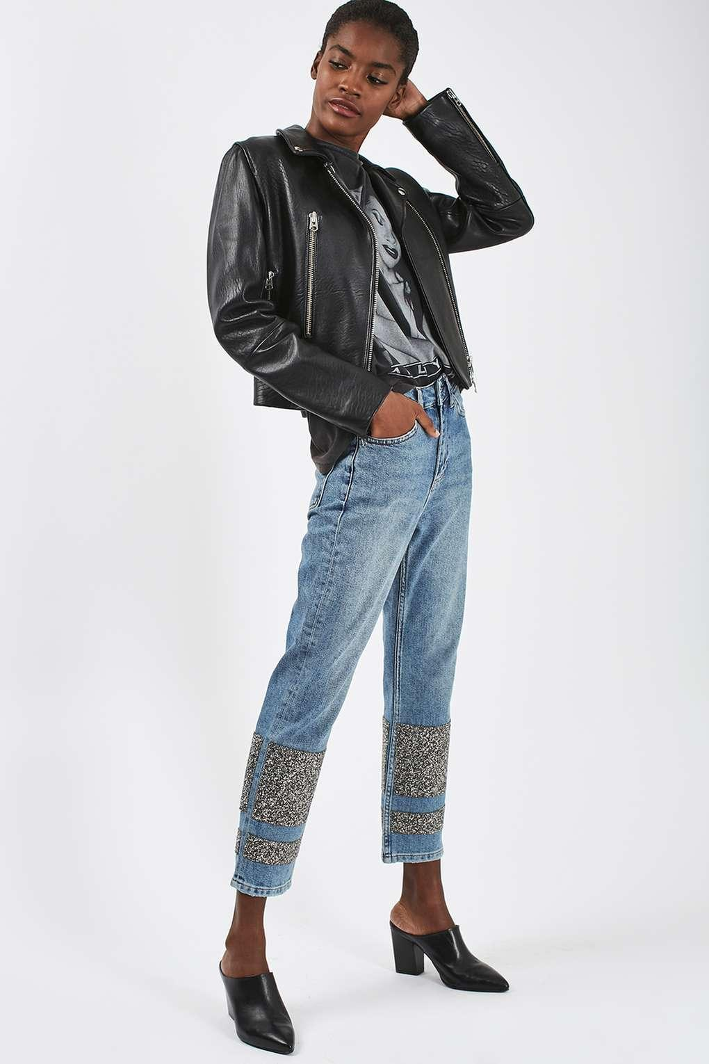 TOPSHOP Denim Moto Limited Edition Stone Encrusted Straight Leg Jeans in Mid Stone (Blue)
