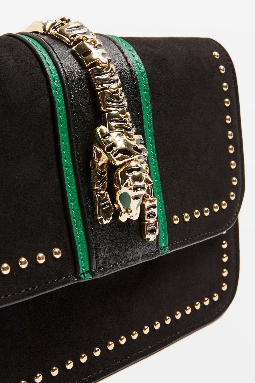 TOPSHOP Leather Tiger Cross Body Bag in Black