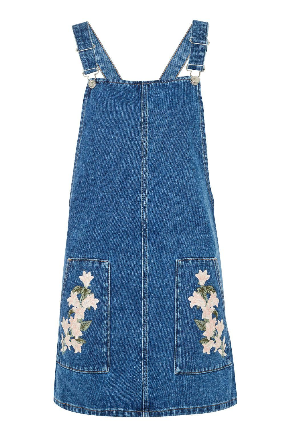 Topshop Tulip Embroidered Denim Pinafore Dress In Mid