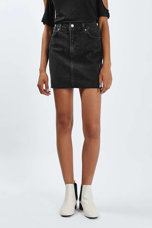 topshop moto high waisted denim skirt in black washed