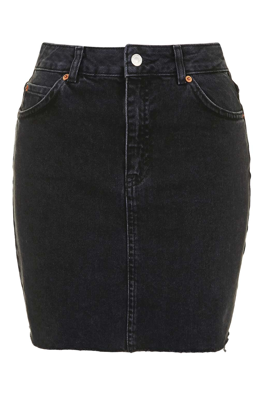 topshop moto high waisted denim skirt in black lyst