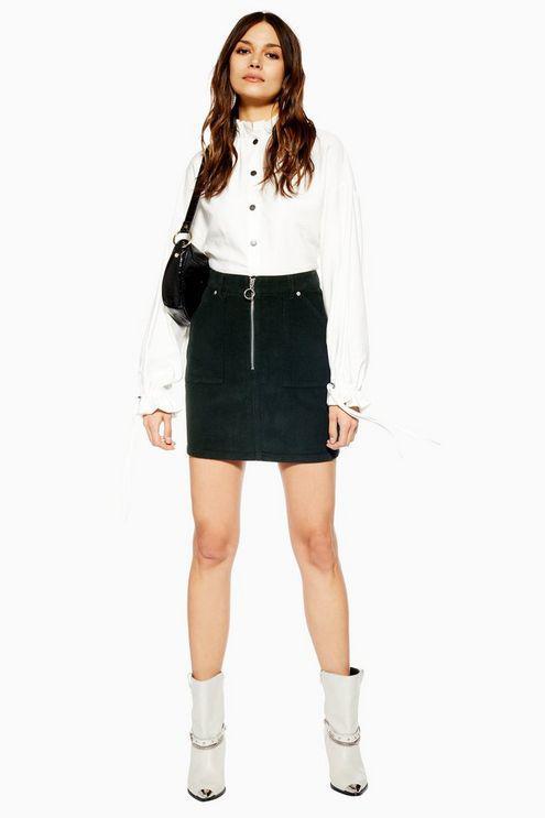 ef7dceab93 TOPSHOP Tall Corduroy Zip Skirt in Black - Lyst