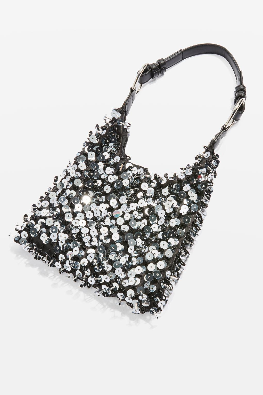c5a9b8a18f38b TOPSHOP Black San Sequin Shoulder Bag