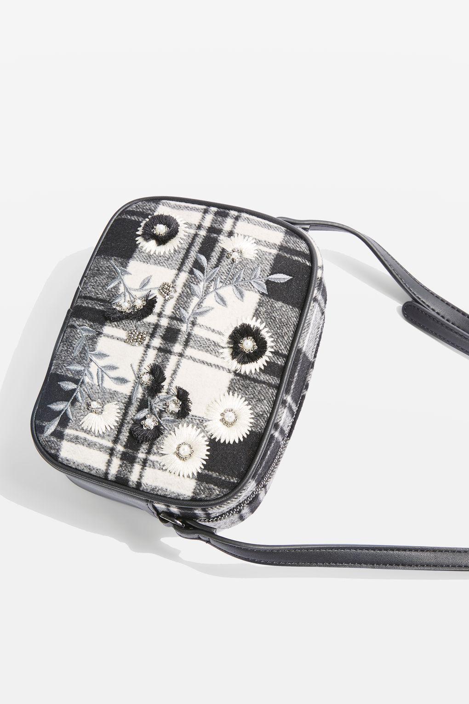TOPSHOP Synthetic Gingham Cross Body Bag in Grey (Grey)