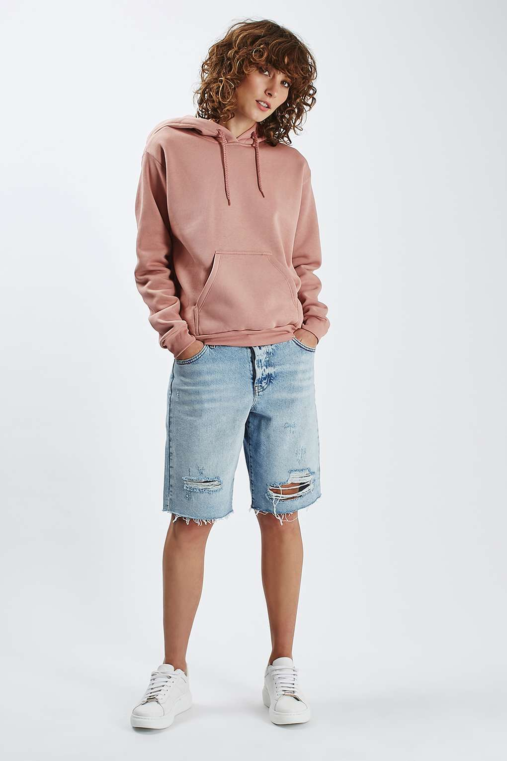 Lyst topshop clean hoodie in pink for Womens denim shirts topshop