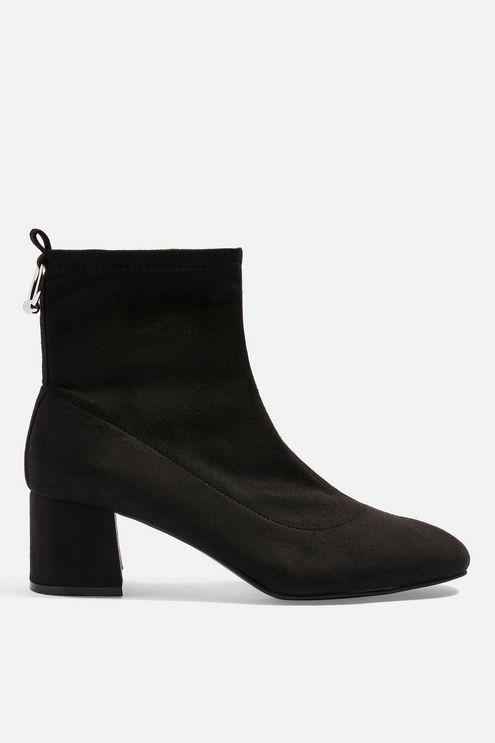 TOPSHOP Wide Fit Blossom Ring Back Boots in Black