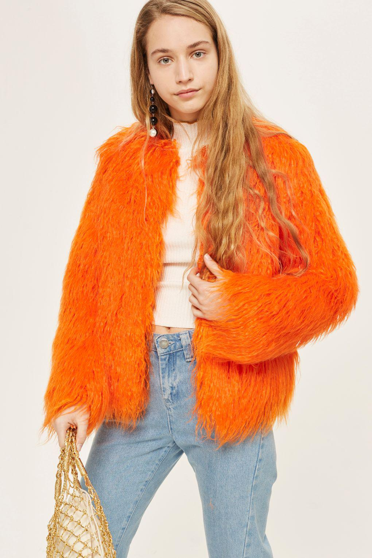 Topshop Brighty Mongolian Faux Fur Coat In Orange Lyst