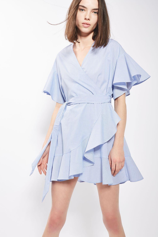 Topshop Stripe Poplin Wrap Dress In Blue Lyst