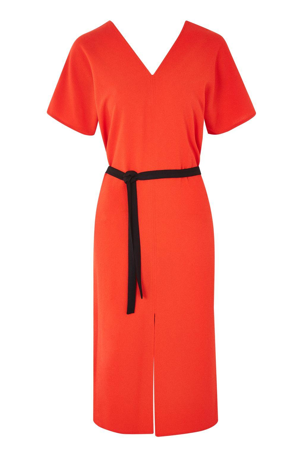 Topshop Kimono Sleeve Belted Midi Dress in Red | Lyst