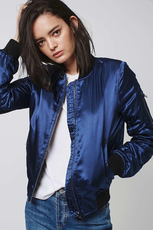 62de46040 TOPSHOP Blue Shiny Ma1 Bomber Jacket
