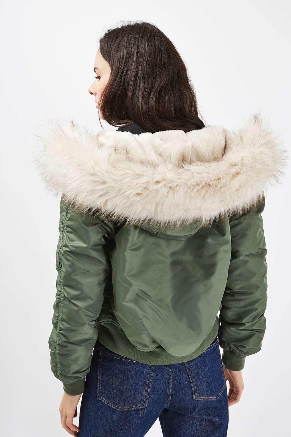 Topshop Ma1 Bomber Jacket With Faux Fur Hood In Green Lyst