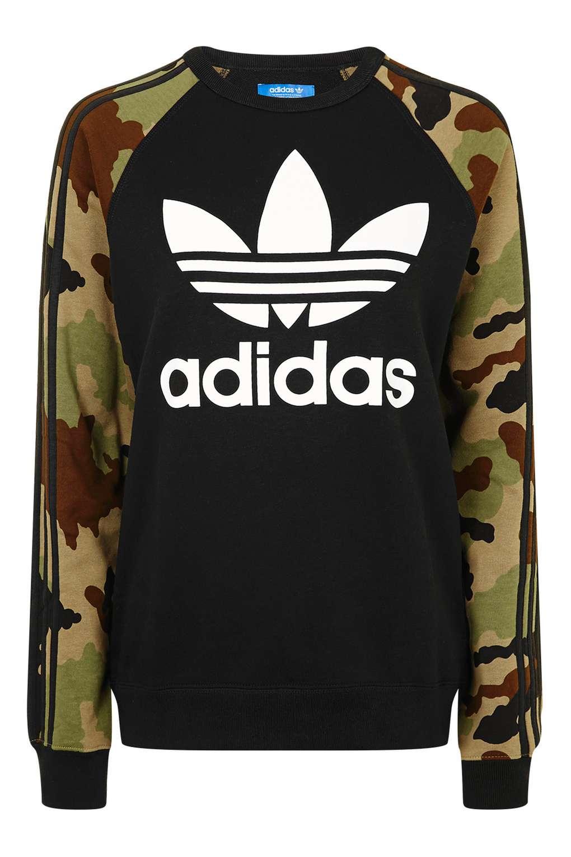 topshop camo print trefoil sweatshirt by adidas originals. Black Bedroom Furniture Sets. Home Design Ideas