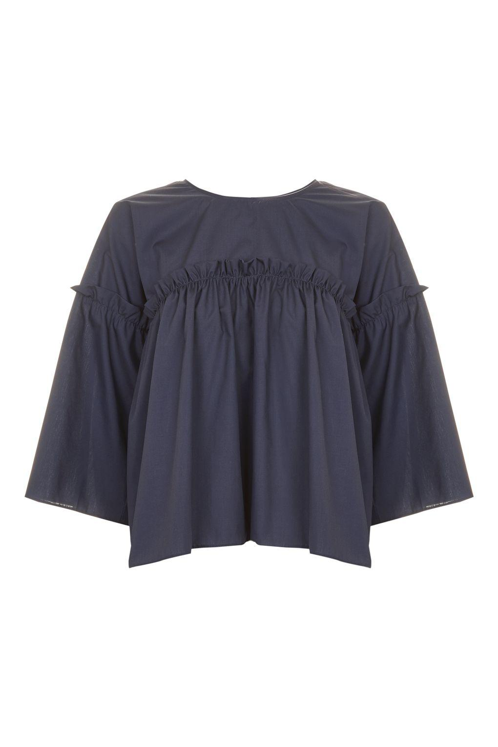 topshop ruffle flute sleeve top in blue lyst. Black Bedroom Furniture Sets. Home Design Ideas