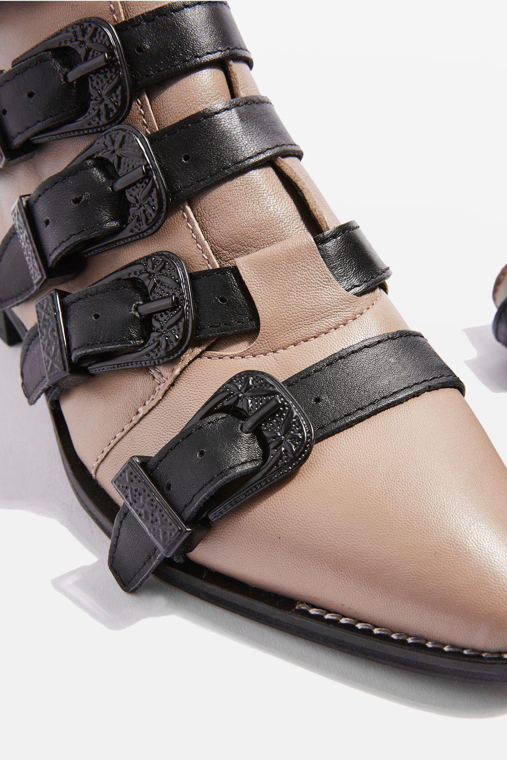 TOPSHOP Denim Andi Multi Buckle Ankle Boots