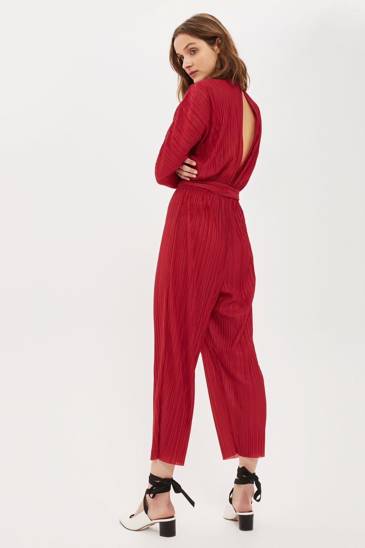 9d46f0d636a Lyst - Topshop Matte Plisse Batwing Jumpsuit in Red