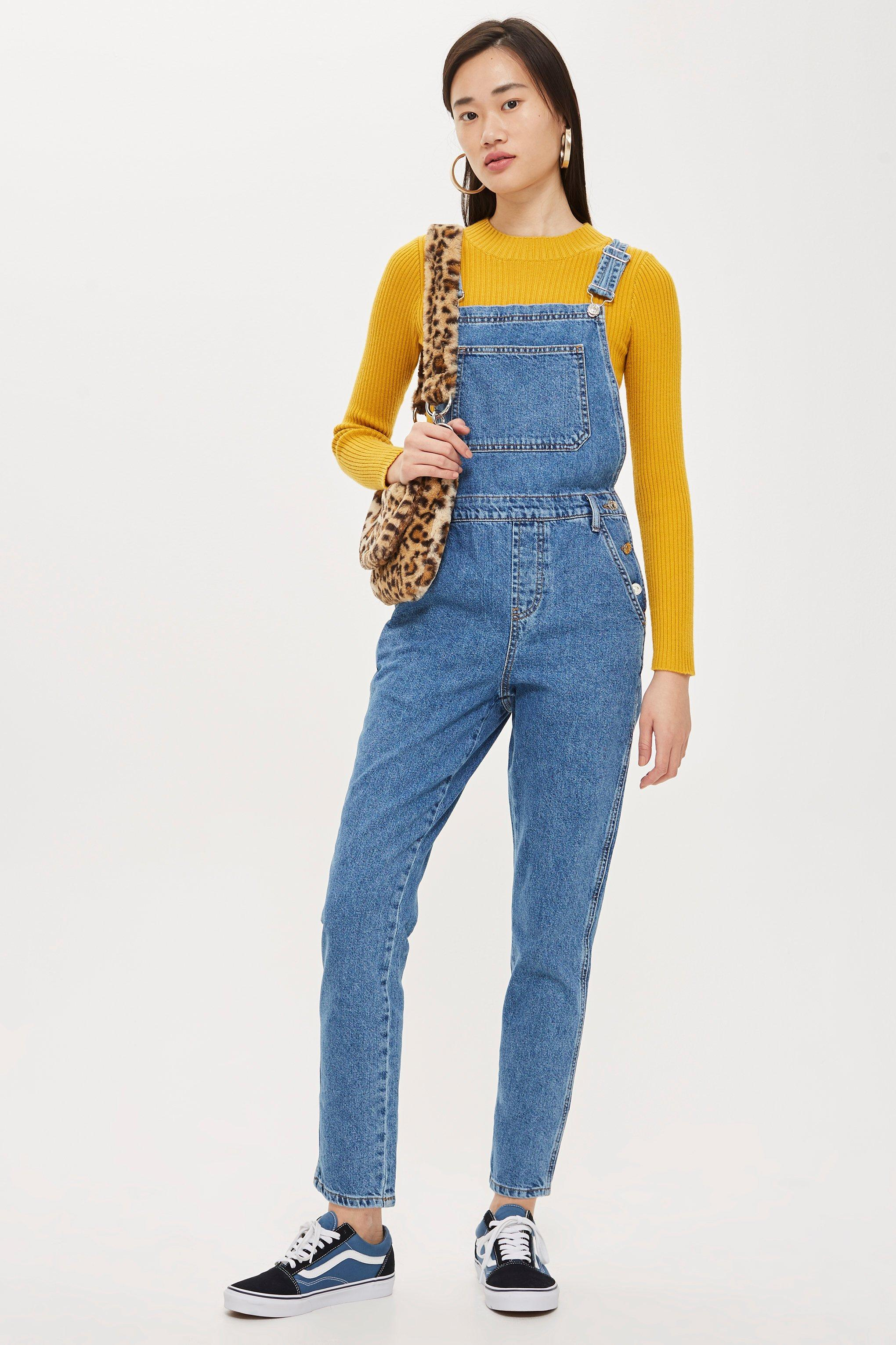 Lyst - Topshop Slim Leg Dungarees in Blue e015f90eabbee