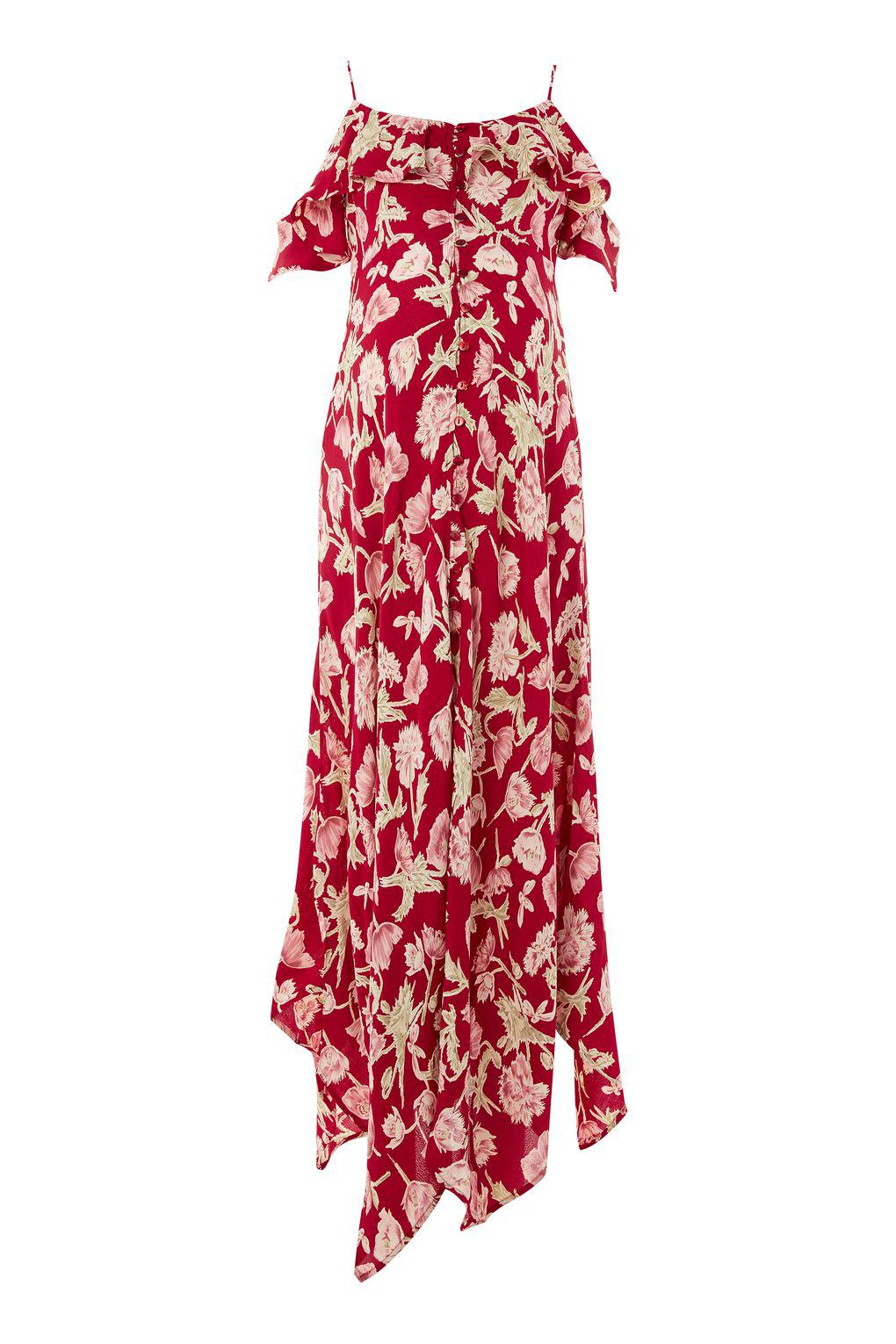 0983c56349e TOPSHOP Maternity Floral Handkerchief Maxi Dress in Red - Lyst