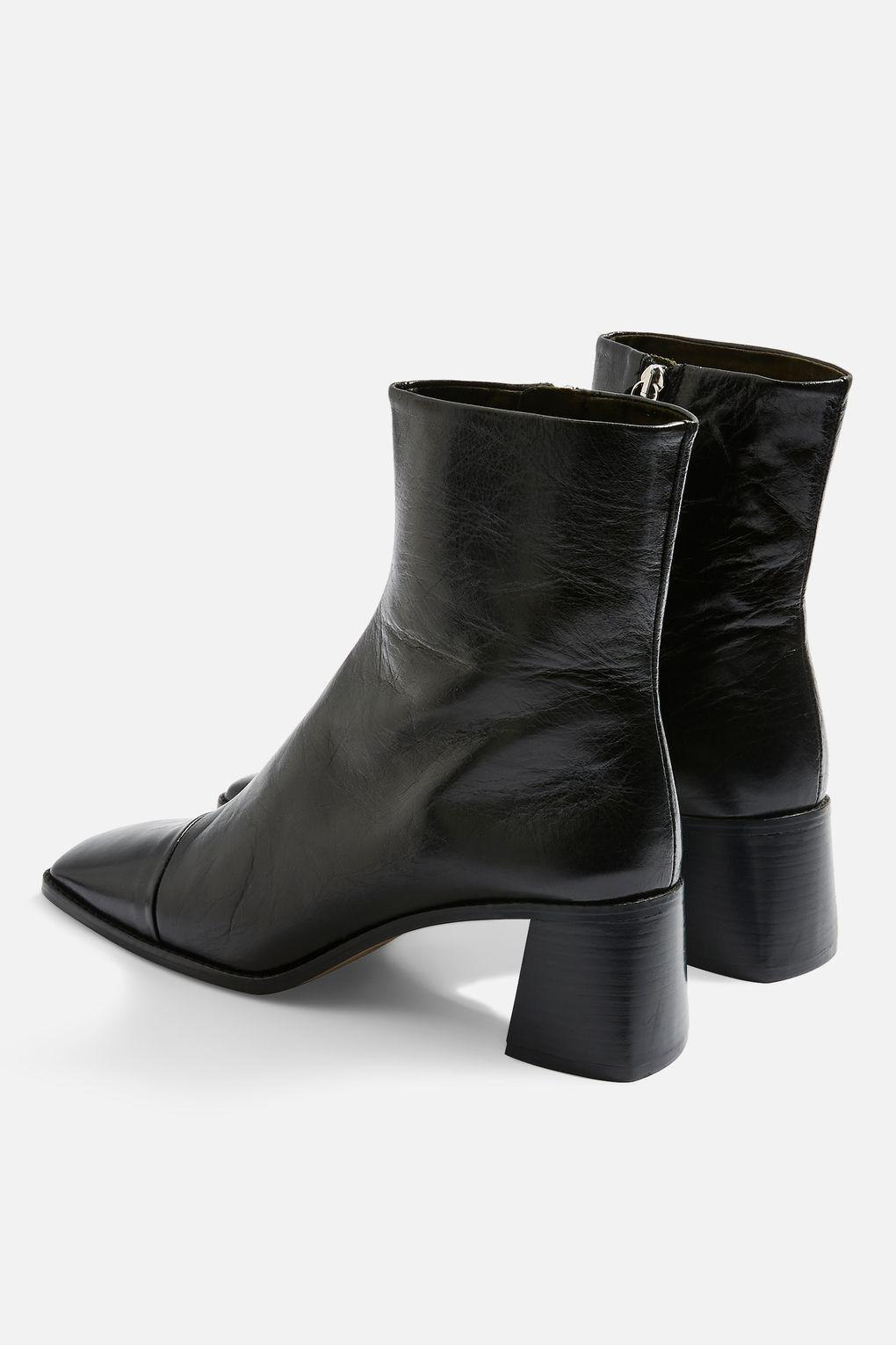 TOPSHOP Leather Muriel Mid Heel Boots in Black