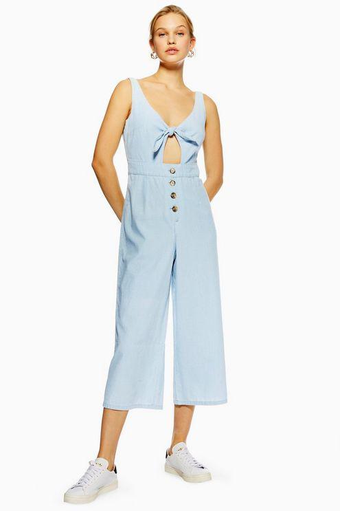 37b79503c6 TOPSHOP Tie Horn Button Denim Jumpsuit in Blue - Lyst
