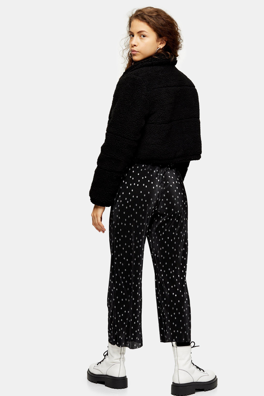 Pantalon noir et blanc à pois Petite Synthétique TOPSHOP en coloris Noir