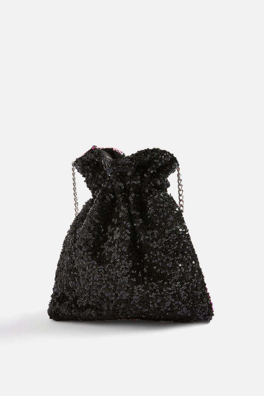 TOPSHOP Cotton Tiger Beaded Drawstring Cross Body Bag in Lavender (Black)